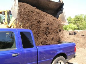 Digital image of compost being loaded into a truck.